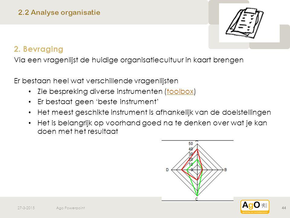 2. Bevraging 2.2 Analyse organisatie