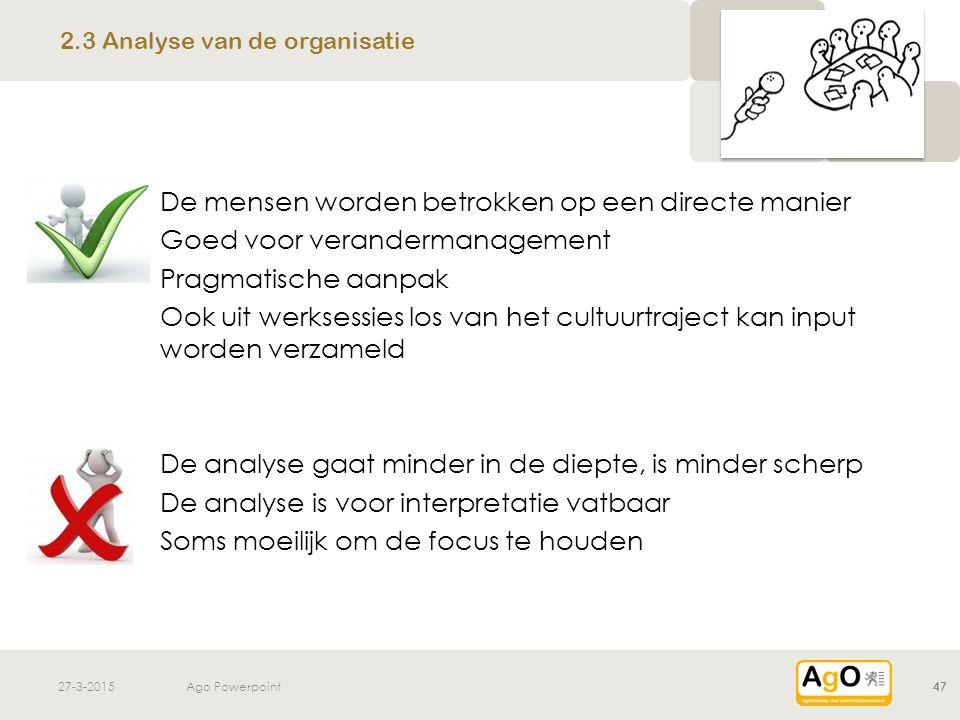 2.3 Analyse van de organisatie