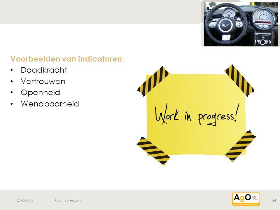 Voorbeelden van indicatoren: Daadkracht Vertrouwen Openheid