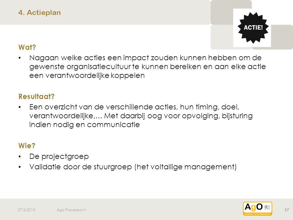 Validatie door de stuurgroep (het voltallige management)
