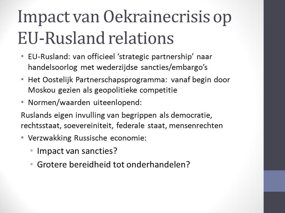 Impact van Oekrainecrisis op EU-Rusland relations