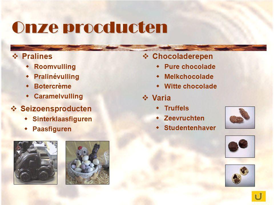 Onze procducten Pralines Chocoladerepen Varia Seizoensproducten