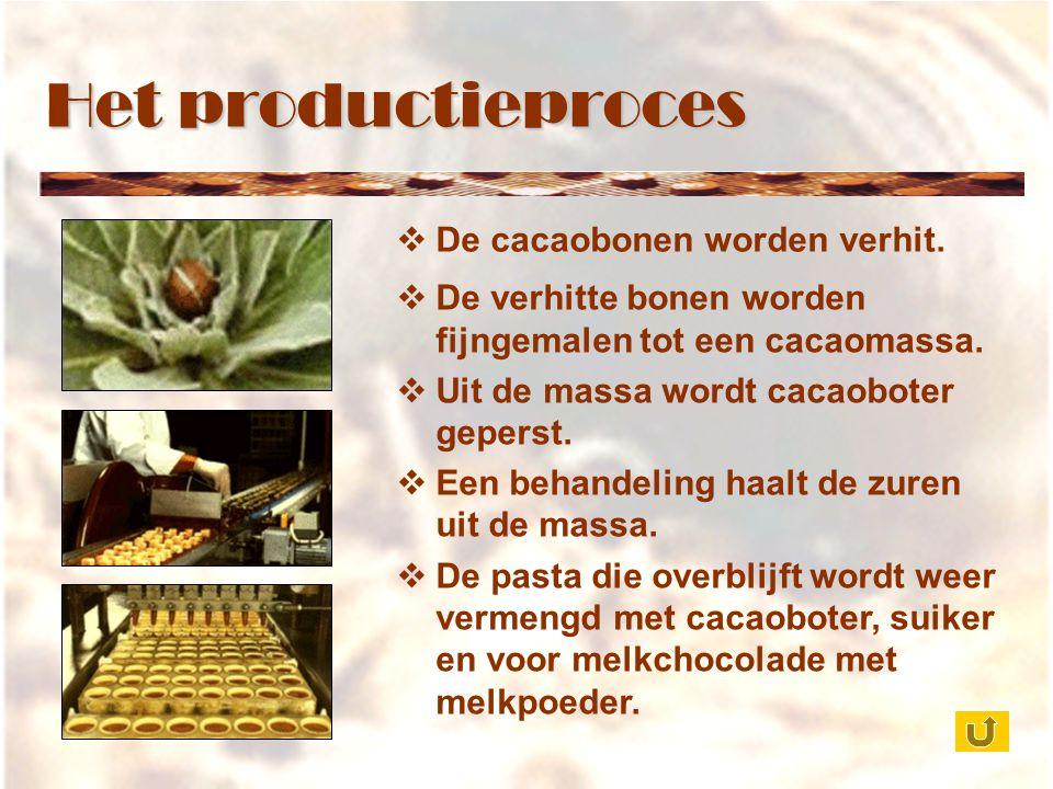 Het productieproces De cacaobonen worden verhit.