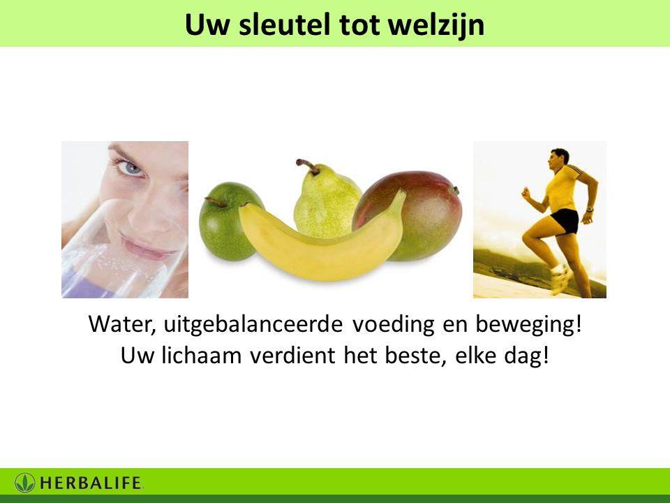 Uw sleutel tot welzijn Water, uitgebalanceerde voeding en beweging!