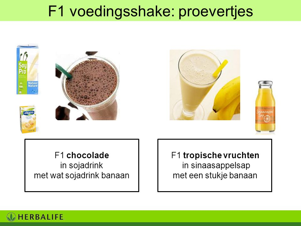 F1 voedingsshake: proevertjes
