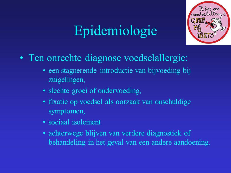 Epidemiologie Ten onrechte diagnose voedselallergie: