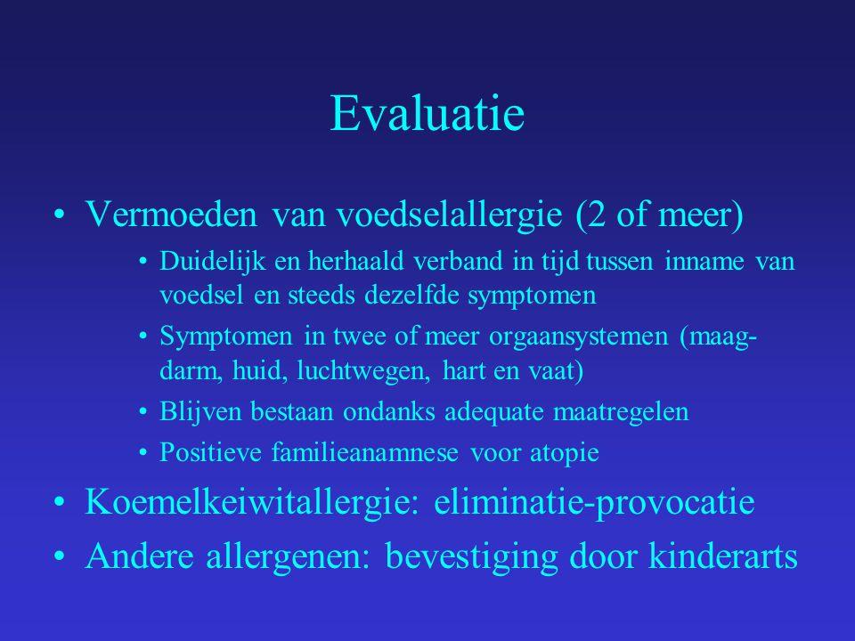 Evaluatie Vermoeden van voedselallergie (2 of meer)