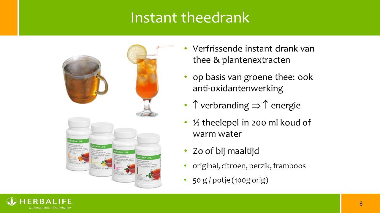 Instant theedrank Verfrissende instant drank van thee & plantenextracten. op basis van groene thee: ook anti-oxidantenwerking.