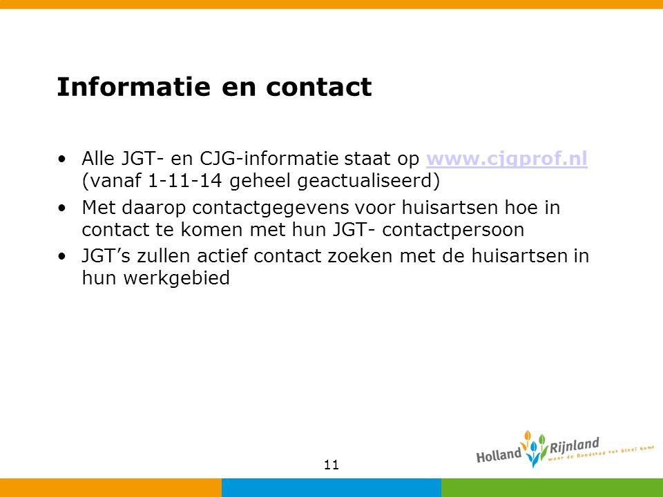 Informatie en contact Alle JGT- en CJG-informatie staat op www.cjgprof.nl (vanaf 1-11-14 geheel geactualiseerd)