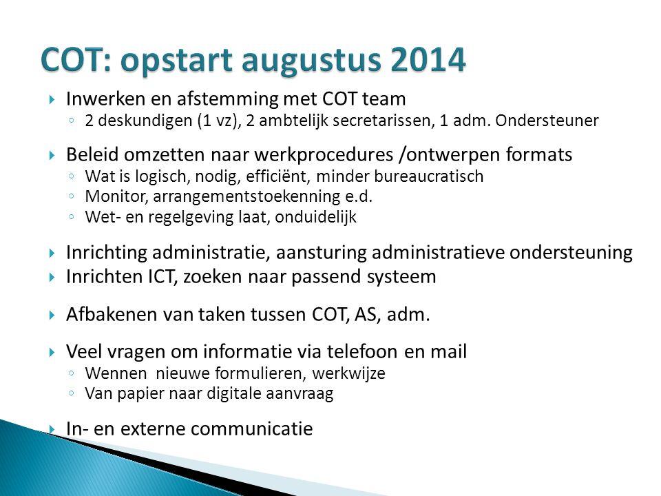 COT: opstart augustus 2014 Inwerken en afstemming met COT team