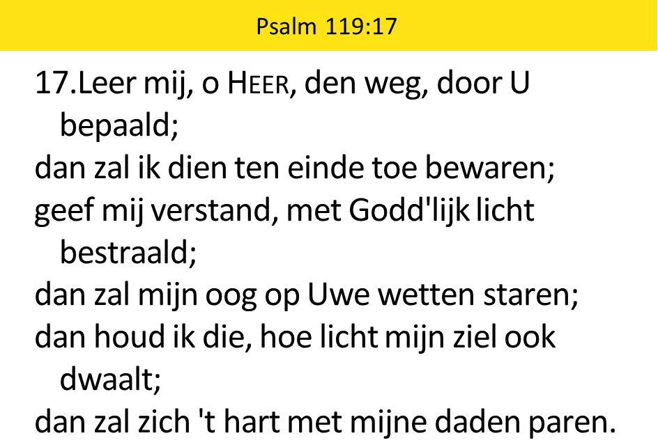 17.Leer mij, o Heer, den weg, door U bepaald;