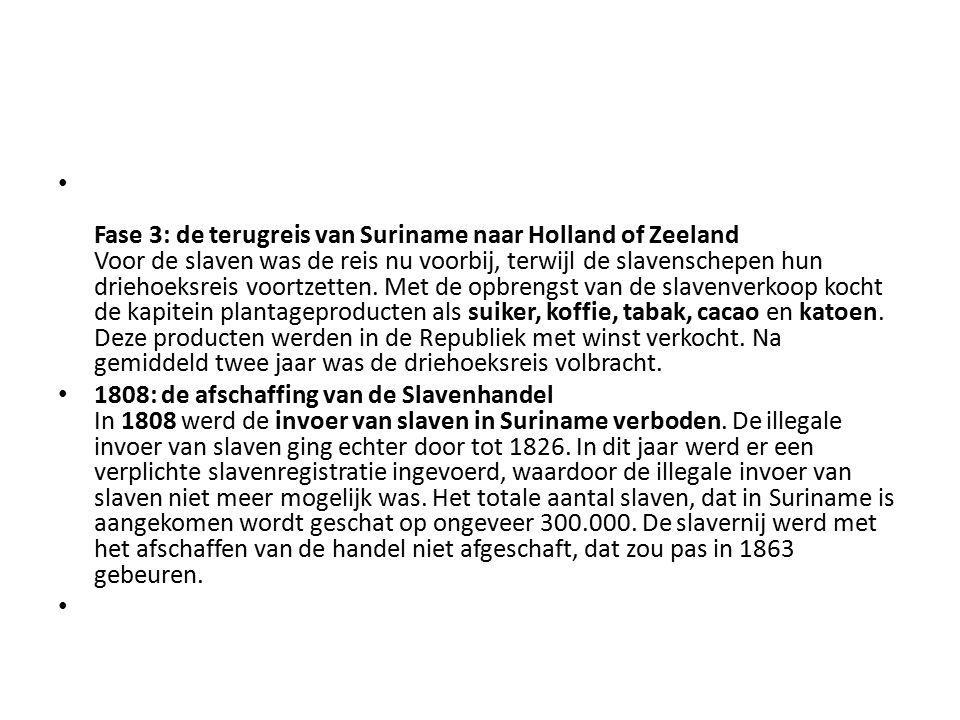 Fase 3: de terugreis van Suriname naar Holland of Zeeland Voor de slaven was de reis nu voorbij, terwijl de slavenschepen hun driehoeksreis voortzetten. Met de opbrengst van de slavenverkoop kocht de kapitein plantageproducten als suiker, koffie, tabak, cacao en katoen. Deze producten werden in de Republiek met winst verkocht. Na gemiddeld twee jaar was de driehoeksreis volbracht.