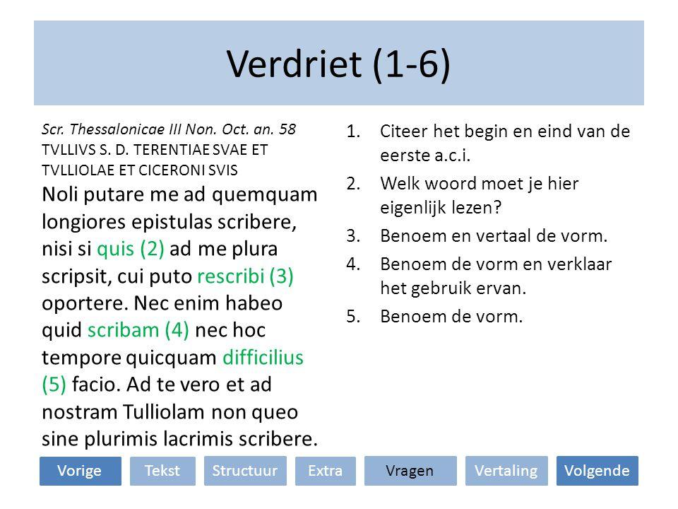 Verdriet (1-6) Scr. Thessalonicae III Non. Oct. an. 58. TVLLIVS S. D. TERENTIAE SVAE ET TVLLIOLAE ET CICERONI SVIS.