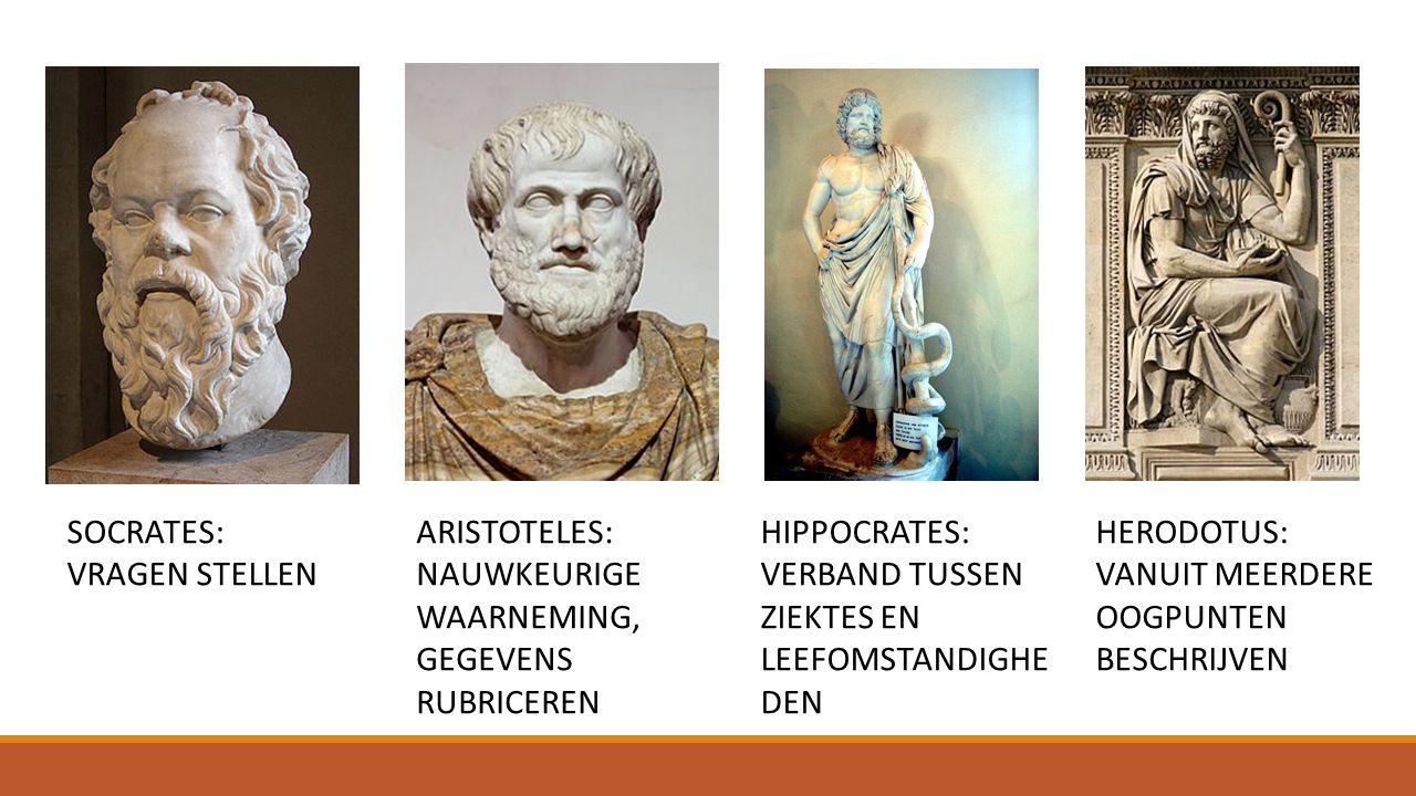 SOCRATES: VRAGEN STELLEN. ARISTOTELES: NAUWKEURIGE WAARNEMING, GEGEVENS RUBRICEREN. HIPPOCRATES: