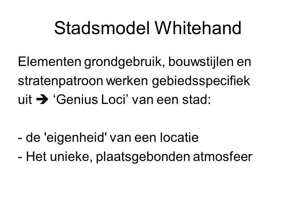Stadsmodel Whitehand Elementen grondgebruik, bouwstijlen en