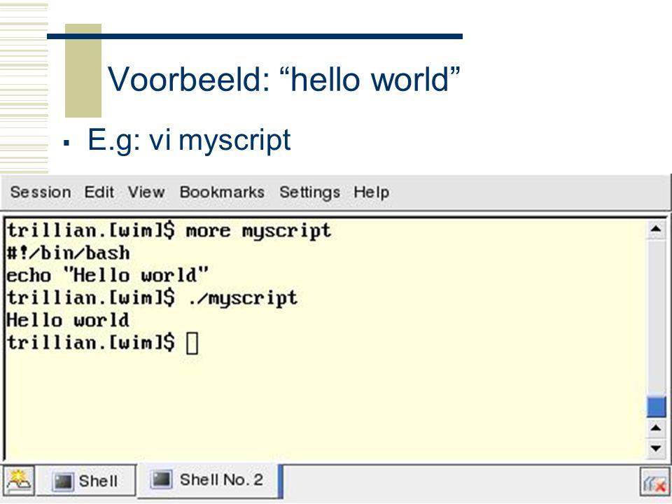 Voorbeeld: hello world