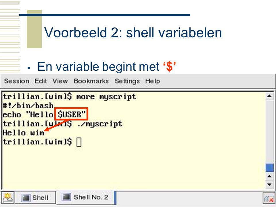 Voorbeeld 2: shell variabelen