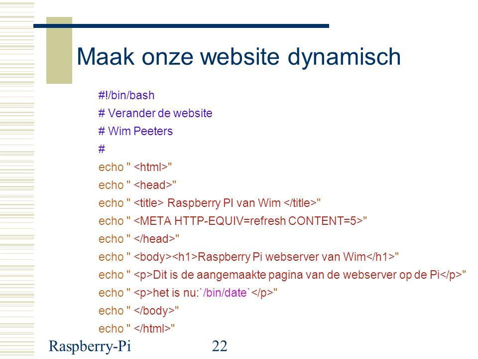 Maak onze website dynamisch