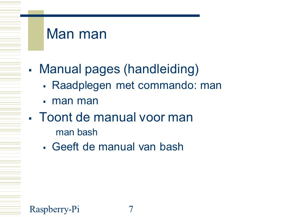 Man man Manual pages (handleiding) Toont de manual voor man