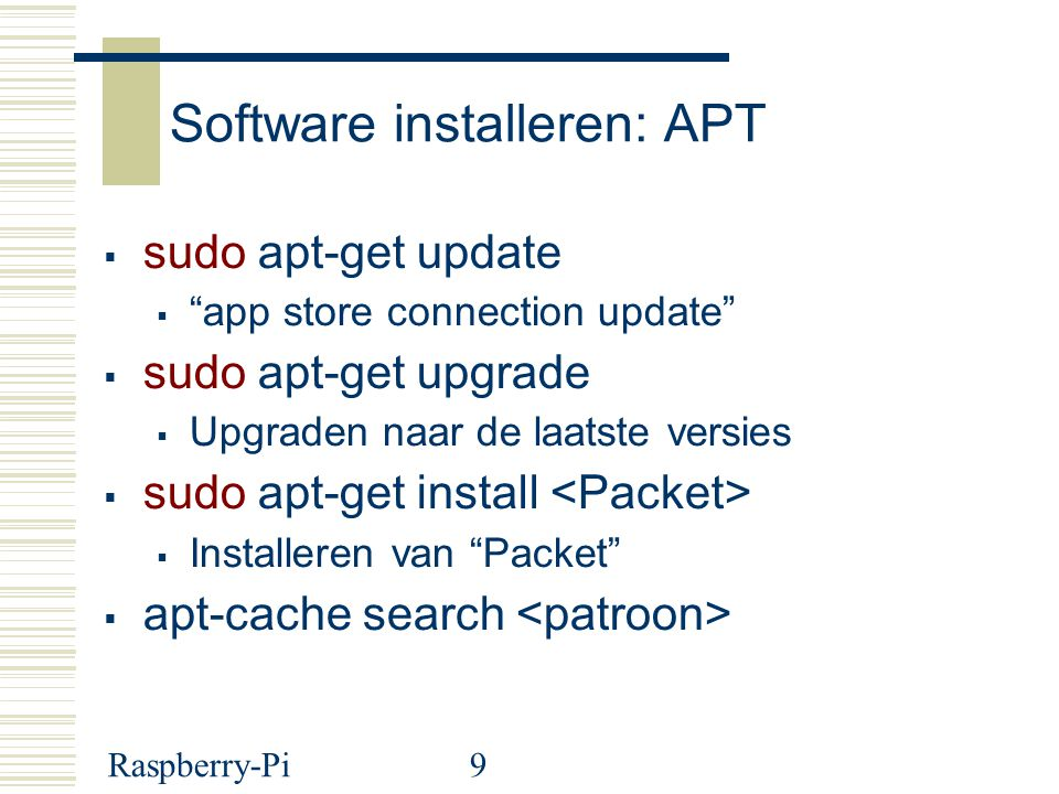 Software installeren: APT
