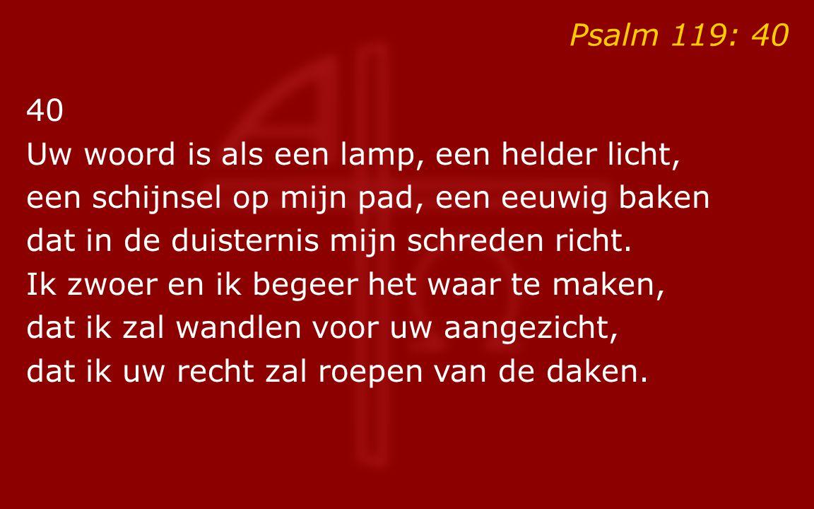 Psalm 119: 40 40. Uw woord is als een lamp, een helder licht, een schijnsel op mijn pad, een eeuwig baken.