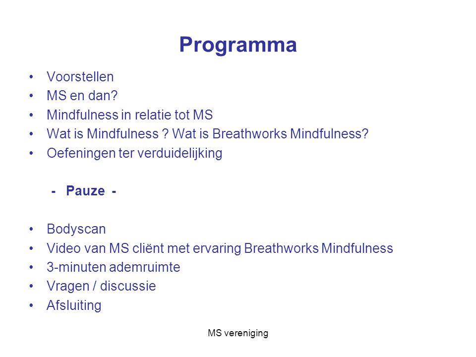 Programma Voorstellen MS en dan Mindfulness in relatie tot MS