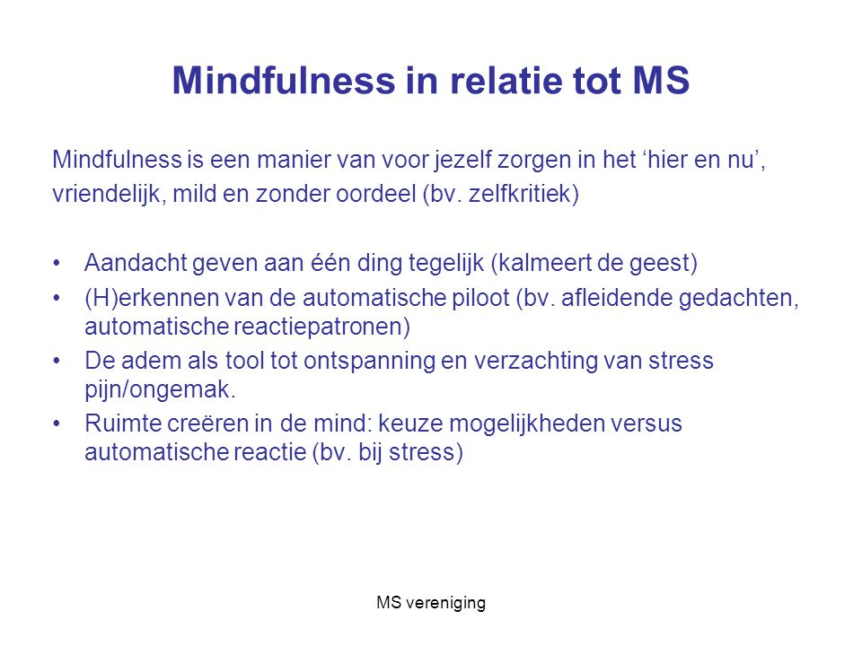 Mindfulness in relatie tot MS