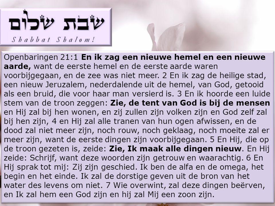 Openbaringen 21:1 En ik zag een nieuwe hemel en een nieuwe aarde, want de eerste hemel en de eerste aarde waren voorbijgegaan, en de zee was niet meer.