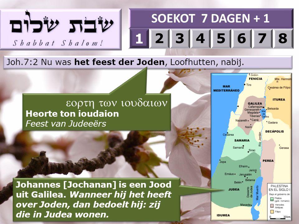 SOEKOT 7 DAGEN + 1 1 2 3 4 5 6 7 8 1 eorth twn ioudaiwn