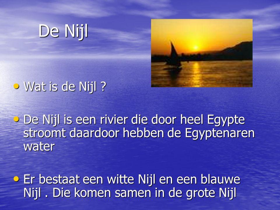 De Nijl Wat is de Nijl De Nijl is een rivier die door heel Egypte stroomt daardoor hebben de Egyptenaren water.