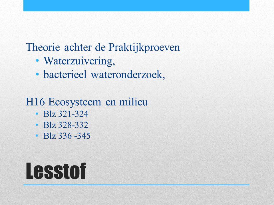 Lesstof Theorie achter de Praktijkproeven Waterzuivering,