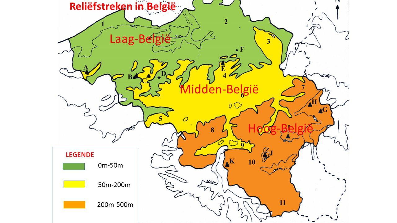 Laag-België Midden-België Hoog-België Reliëfstreken in België LEGENDE