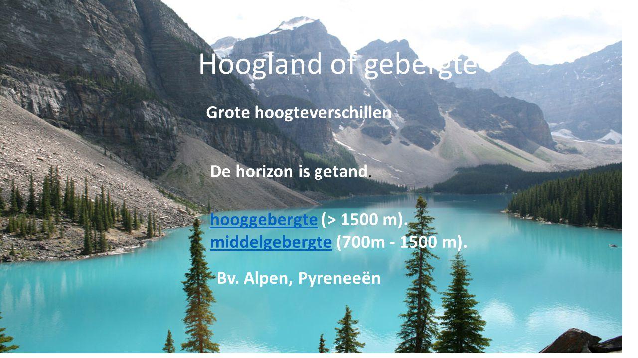 Hoogland of gebergte Grote hoogteverschillen De horizon is getand.