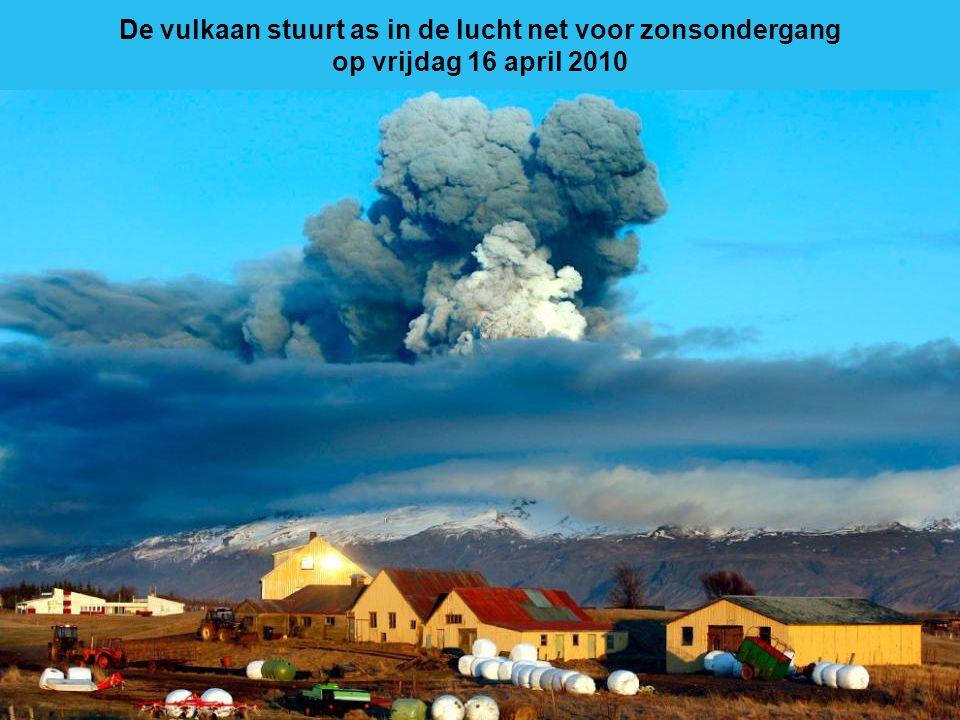 De vulkaan stuurt as in de lucht net voor zonsondergang