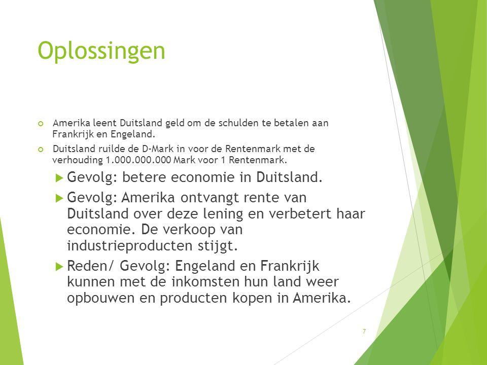 Oplossingen Gevolg: betere economie in Duitsland.