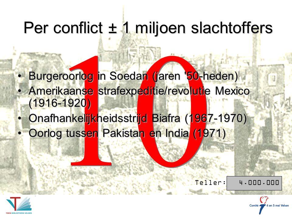 Per conflict ± 1 miljoen slachtoffers