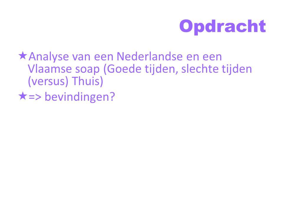 Opdracht Analyse van een Nederlandse en een Vlaamse soap (Goede tijden, slechte tijden (versus) Thuis)