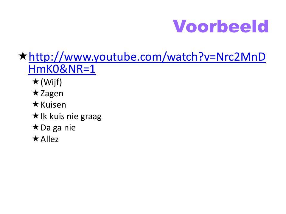 Voorbeeld http://www.youtube.com/watch v=Nrc2MnDHmK0&NR=1 (Wijf) Zagen