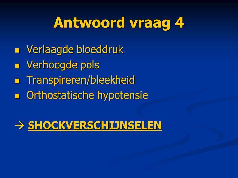 Antwoord vraag 4 Verlaagde bloeddruk Verhoogde pols