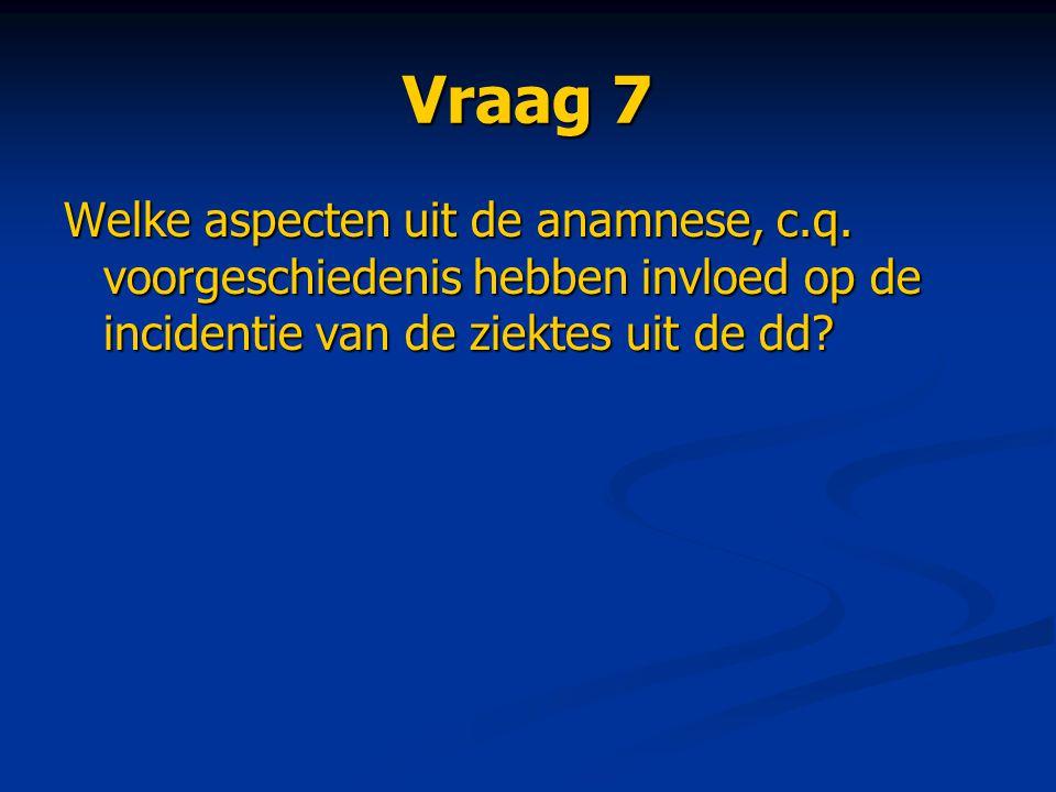 Vraag 7 Welke aspecten uit de anamnese, c.q.