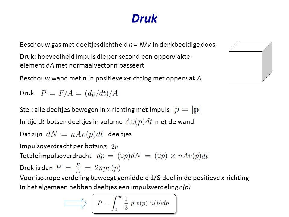 Druk Beschouw gas met deeltjesdichtheid n = N/V in denkbeeldige doos