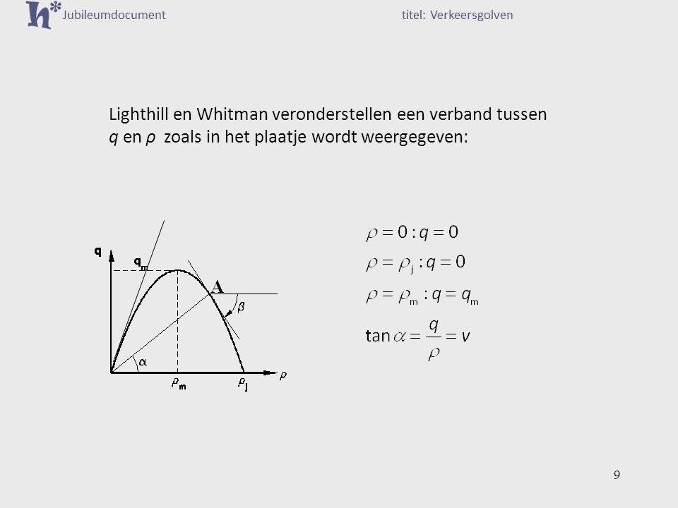 Lighthill en Whitman veronderstellen een verband tussen q en ρ zoals in het plaatje wordt weergegeven: