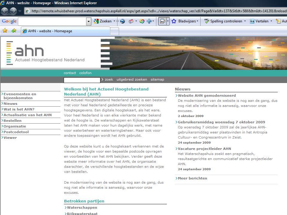 AHN gebruikersbijeenkomst 7 oktober 2009