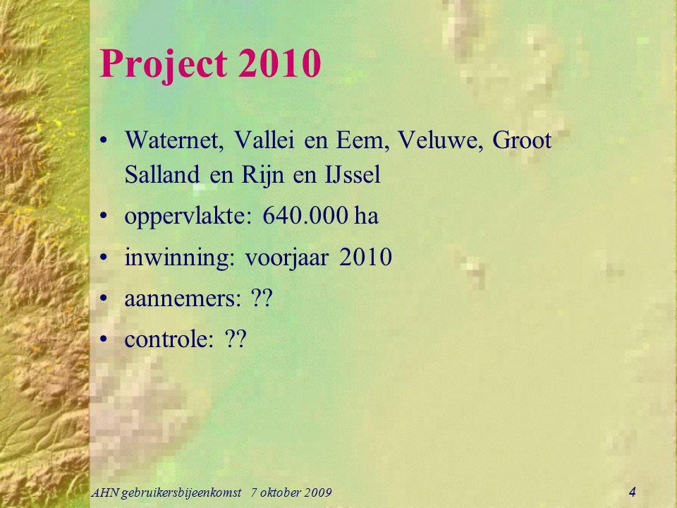 Project 2010 Waternet, Vallei en Eem, Veluwe, Groot Salland en Rijn en IJssel. oppervlakte: 640.000 ha.