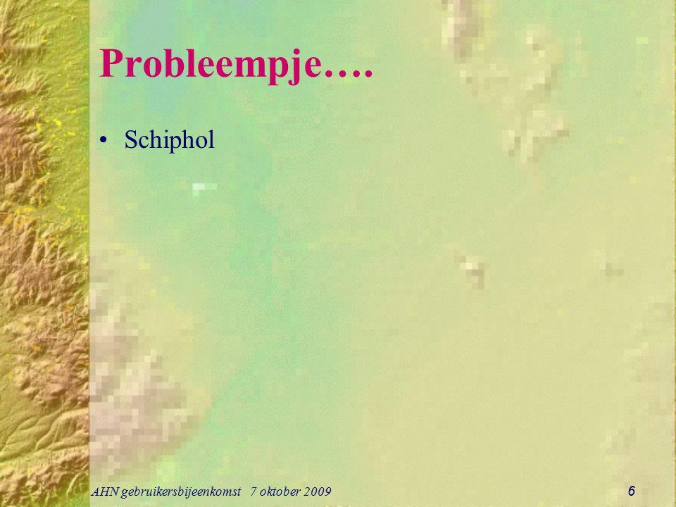 Probleempje…. Schiphol AHN gebruikersbijeenkomst 7 oktober 2009