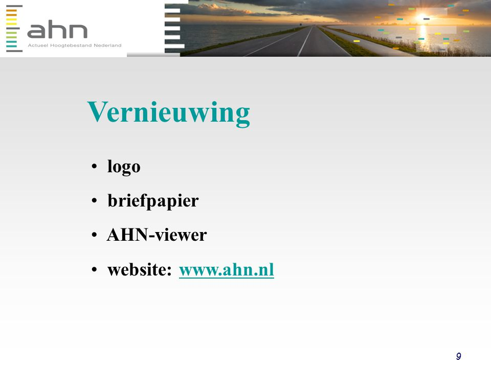 Vernieuwing logo briefpapier AHN-viewer website: www.ahn.nl
