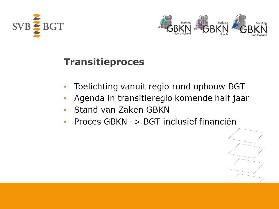 Transitieproces Toelichting vanuit regio rond opbouw BGT