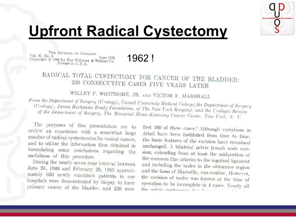 Upfront Radical Cystectomy