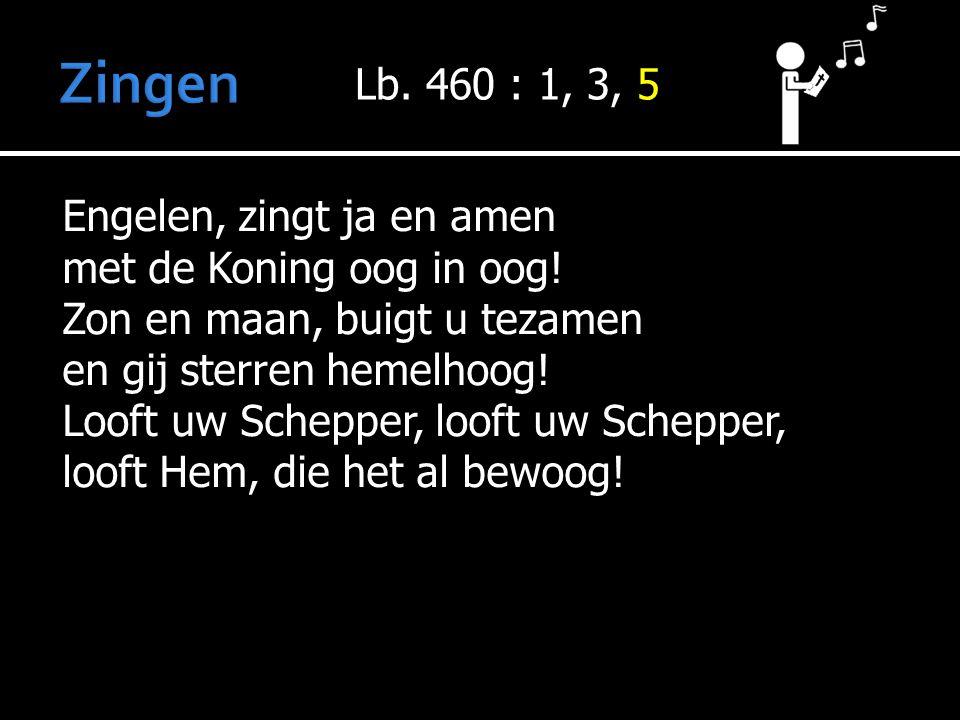 Zingen Lb. 460 : 1, 3, 5 Engelen, zingt ja en amen
