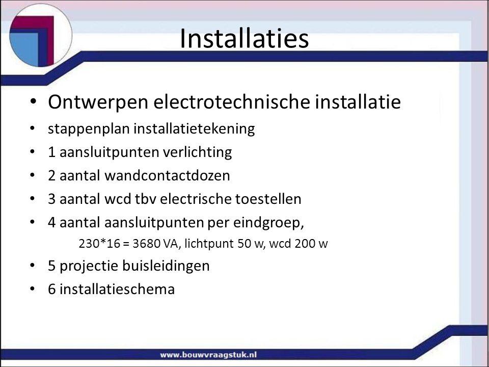 Installaties Ontwerpen electrotechnische installatie
